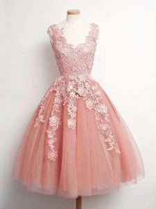 Knee Length Ball Gowns Sleeveless Peach Bridesmaid Dresses Lace Up