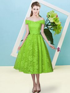 Custom Made Lace Off The Shoulder Cap Sleeves Lace Up Bowknot Wedding Guest Dresses in Yellow Green