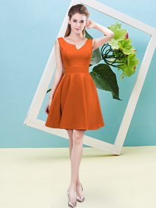Orange Red Bridesmaid Dresses Prom and Party and Wedding Party with Ruching Asymmetric Sleeveless Zipper