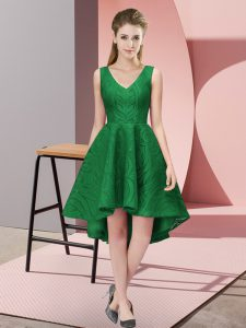High Low Zipper Wedding Party Dress Dark Green for Wedding Party with Lace