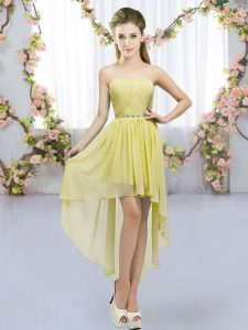 Adorable High Low Yellow Bridesmaid Dresses Sweetheart Sleeveless Lace Up