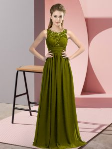Comfortable Beading and Appliques Bridesmaid Dress Olive Green Zipper Sleeveless Floor Length