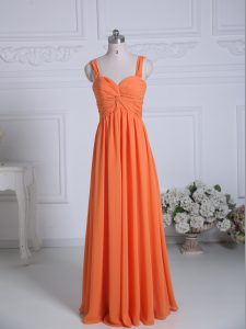 Adorable Floor Length Orange Bridesmaid Gown Chiffon Sleeveless Ruching