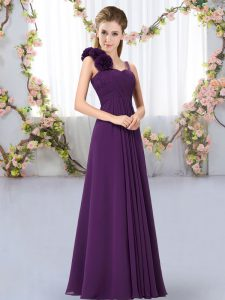 Sleeveless Chiffon Floor Length Lace Up Wedding Party Dress in Dark Purple with Hand Made Flower