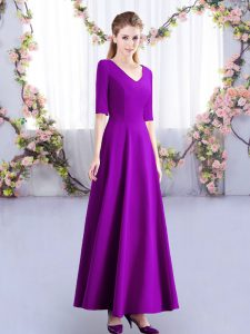 Satin V-neck Half Sleeves Zipper Ruching Wedding Guest Dresses in Eggplant Purple