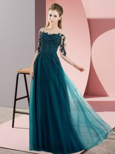 Adorable Peacock Green Half Sleeves Floor Length Beading and Lace Lace Up Bridesmaid Dresses