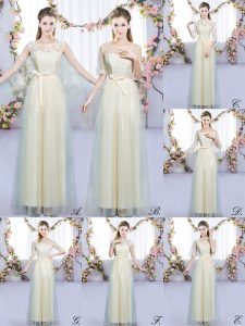 Romantic Scoop Sleeveless Tulle Wedding Guest Dresses Lace and Bowknot Lace Up