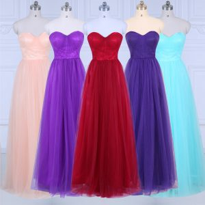Fashionable Peach Bridesmaid Dress Wedding Party with Ruching Sweetheart Sleeveless Zipper