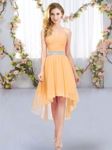 New Style Orange Sleeveless Chiffon Lace Up Bridesmaids Dress for Wedding Party