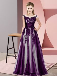 Attractive Dark Purple Sleeveless Beading and Lace Floor Length Bridesmaid Dresses