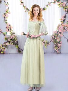 Lace and Belt Wedding Party Dress Yellow Green Side Zipper Half Sleeves Floor Length
