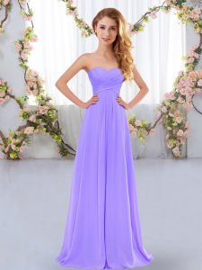 Flare Lavender Empire Sweetheart Sleeveless Chiffon Floor Length Lace Up Ruching Bridesmaid Gown