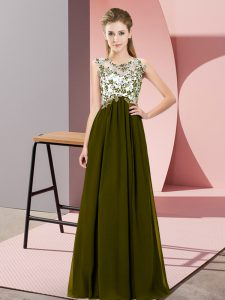 Charming Sleeveless Chiffon Floor Length Zipper Bridesmaid Dresses in Olive Green with Beading and Appliques