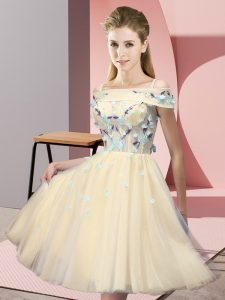 Simple Knee Length Gold Wedding Party Dress Tulle Short Sleeves Appliques