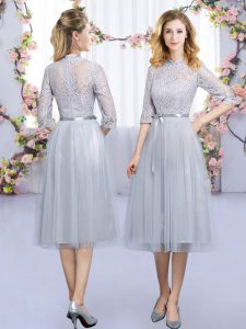 High Quality High-neck Half Sleeves Wedding Party Dress Tea Length Lace and Belt Grey Tulle