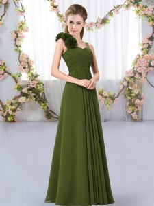 Hand Made Flower Bridesmaid Dresses Olive Green Lace Up Sleeveless Floor Length