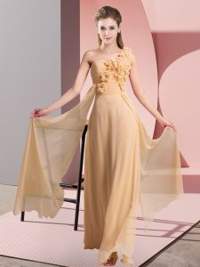 Hot Selling Peach Sleeveless Floor Length Hand Made Flower Lace Up Bridesmaid Dress