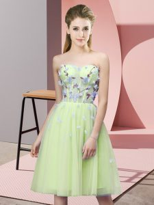 Trendy Yellow Green Empire Sweetheart Sleeveless Tulle Knee Length Lace Up Appliques Wedding Party Dress