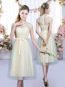 Champagne Empire High-neck Cap Sleeves Tulle Tea Length Zipper Lace and Bowknot Bridesmaid Gown