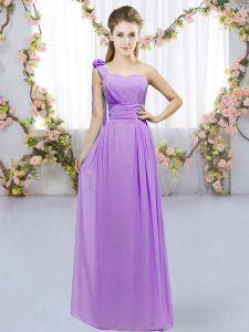 One Shoulder Sleeveless Chiffon Bridesmaid Gown Hand Made Flower Lace Up