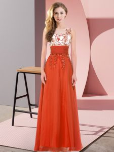 Edgy Scoop Sleeveless Chiffon Bridesmaid Dress Appliques Backless