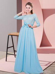 Hot Selling Baby Blue Scoop Side Zipper Lace and Belt Bridesmaid Dresses 3 4 Length Sleeve