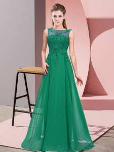 Floor Length Dark Green Bridesmaid Gown Chiffon Sleeveless Beading and Appliques