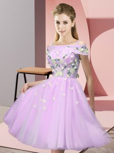 Stylish Empire Wedding Guest Dresses Lilac Off The Shoulder Tulle Short Sleeves Knee Length Lace Up