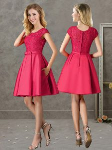 Delicate A-line Bridesmaid Dress Red Scoop Satin Short Sleeves Mini Length Zipper