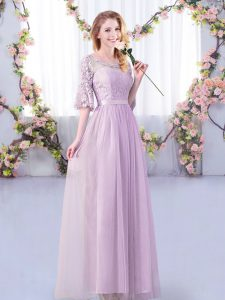 Perfect Scoop Half Sleeves Tulle Wedding Guest Dresses Lace and Belt Side Zipper