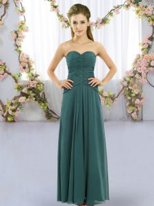 Custom Fit Floor Length Empire Sleeveless Peacock Green Bridesmaids Dress Lace Up