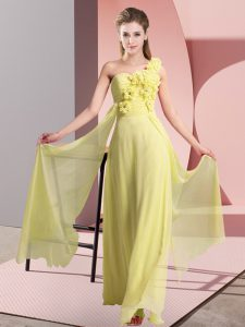 Inexpensive Yellow Lace Up One Shoulder Hand Made Flower Wedding Party Dress Chiffon Sleeveless