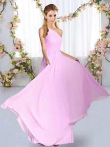 Sleeveless Chiffon Floor Length Lace Up Bridesmaid Dress in Lilac with Ruching