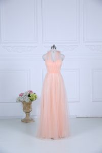 Clearance Peach Zipper Halter Top Ruching Bridesmaids Dress Tulle Sleeveless