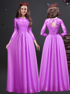 Appliques Wedding Guest Dresses Lilac Lace Up Long Sleeves Floor Length