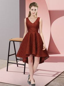 Rust Red A-line V-neck Sleeveless Lace High Low Zipper Lace Bridesmaids Dress