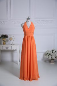 Unique Orange Empire Halter Top Sleeveless Chiffon Floor Length Zipper Ruching Wedding Party Dress