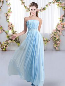Baby Blue Sleeveless Sweep Train Beading Wedding Guest Dresses