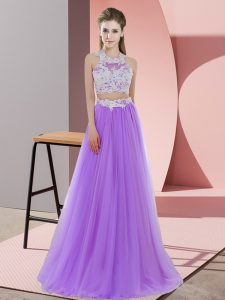 Exceptional Halter Top Sleeveless Tulle Bridesmaid Gown Lace Zipper