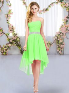 Exquisite Sweetheart Sleeveless Chiffon Bridesmaids Dress Belt Lace Up