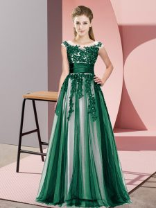 Glamorous Dark Green Tulle Zipper Scoop Sleeveless Floor Length Bridesmaids Dress Beading and Lace