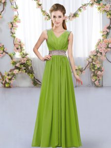 Sexy V-neck Sleeveless Bridesmaid Dresses Floor Length Beading and Belt Olive Green Chiffon