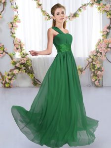 Hot Selling One Shoulder Sleeveless Chiffon Wedding Guest Dresses Ruching Lace Up