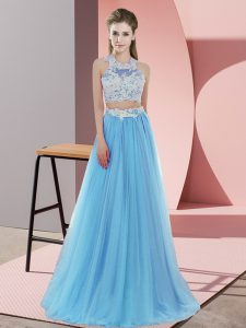 Pretty Baby Blue Sleeveless Lace Floor Length Wedding Party Dress