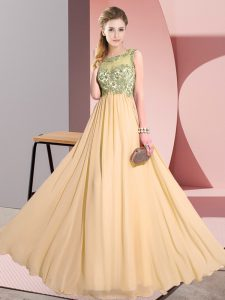 Sweet Floor Length Peach Wedding Party Dress Chiffon Sleeveless Beading and Appliques