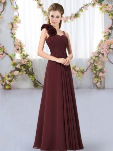 Floor Length Brown Wedding Party Dress Straps Sleeveless Lace Up