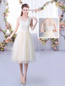 Classical Empire Bridesmaid Gown Champagne V-neck Tulle Sleeveless Tea Length Lace Up