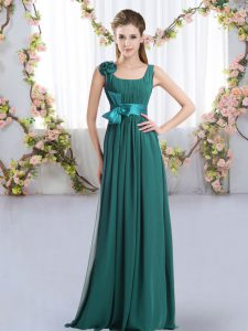 Peacock Green Sleeveless Chiffon Zipper Bridesmaids Dress for Wedding Party