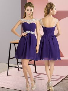 Mini Length Purple Bridesmaid Gown Bateau Cap Sleeves Lace Up