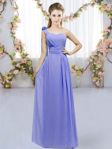 Artistic One Shoulder Sleeveless Lace Up Bridesmaid Dress Lavender Chiffon